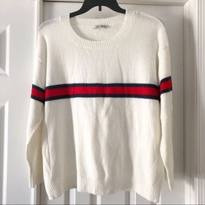 Angel Kiss White Striped Soft Knit Sweater L